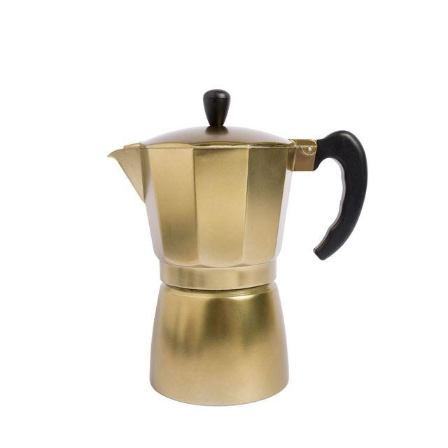Cafetera moka 6 tazas dorada