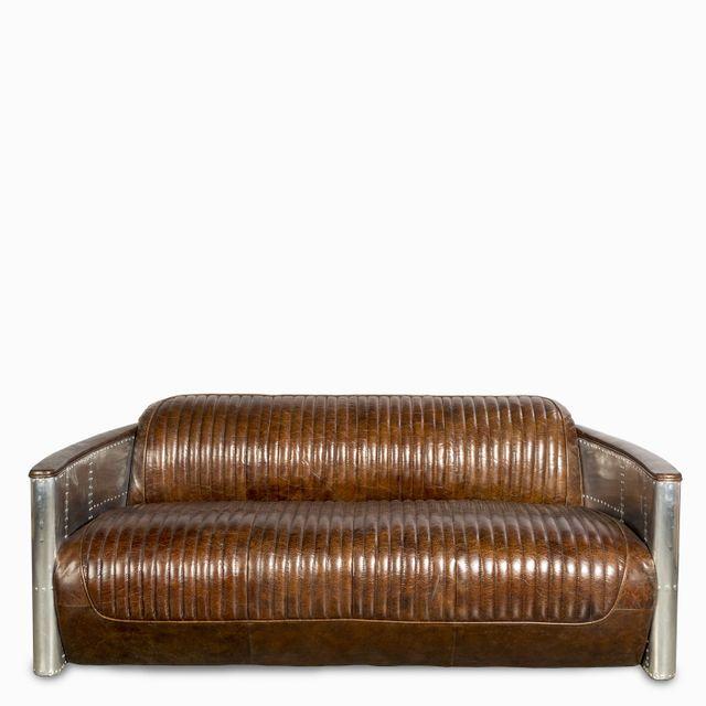 Sofa cuero metal 3ptos vintage
