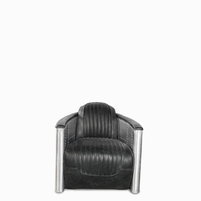 Silla cuero metal vintage negra