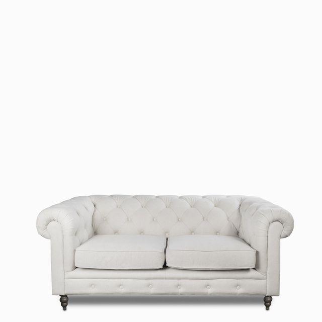 Sofá lino 2 puestos capitoneado