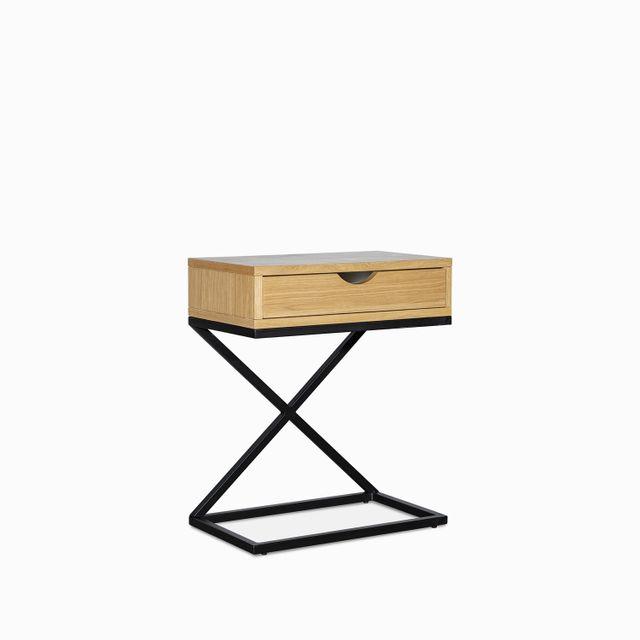 Mesa de noche madera y metal 60x50x30