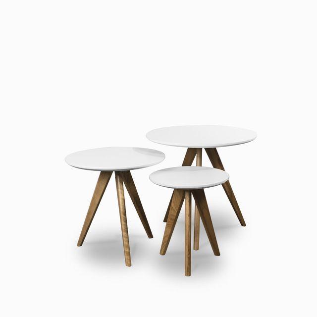 Set x tres mesas century blanca y madera