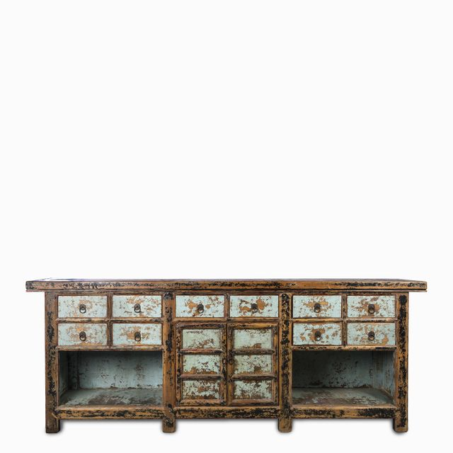 Mueble desgaste azul 230x45x88cm