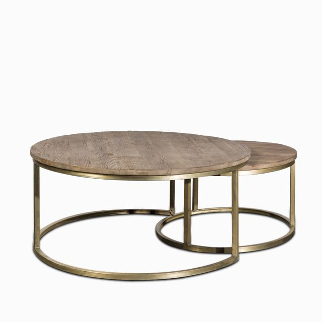 Set x 2 mesas centro base brass