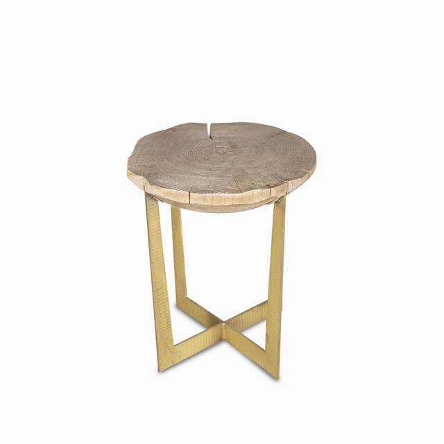 Mesita tronco oval brass 66x56x56 cm