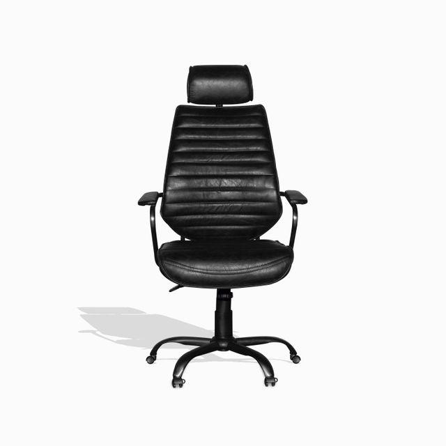 Silla cuero escritorio negra 114x65x67