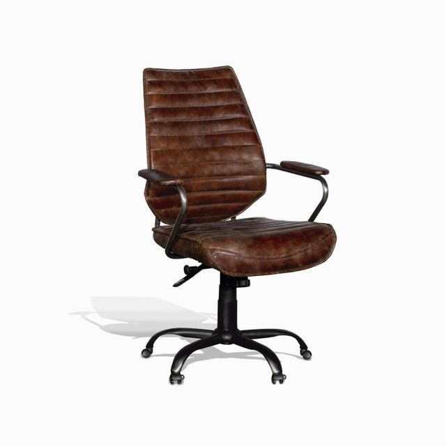 Silla cuero escritorio cafe 100x65x67
