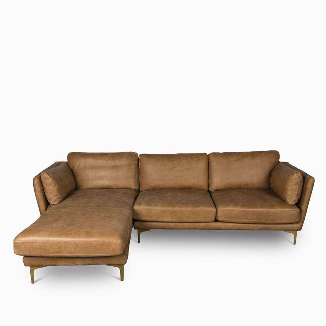 Sofa en l italian cognac