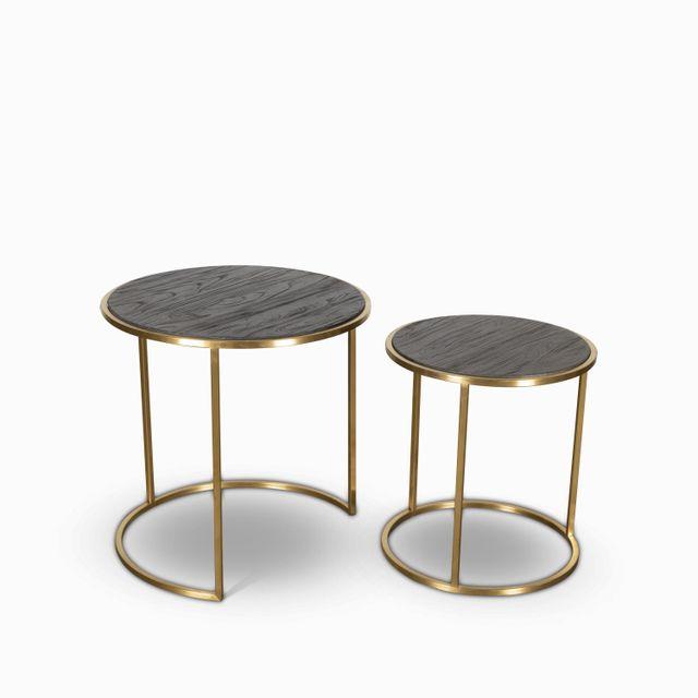 Set mesas peqs redondas marco dorado