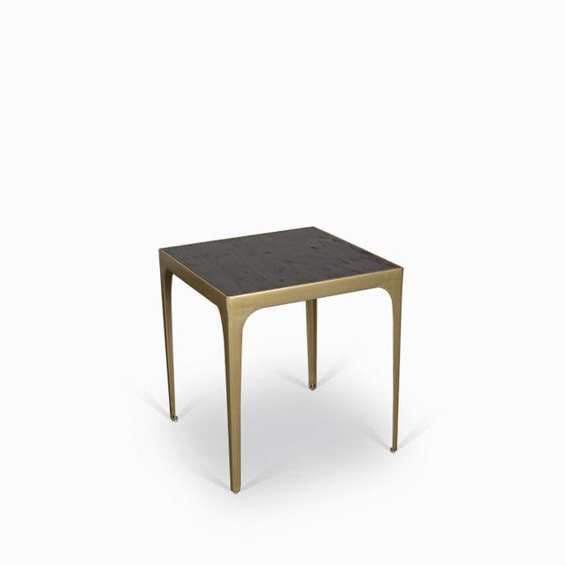 Mesa lateral chocolate marco dorado
