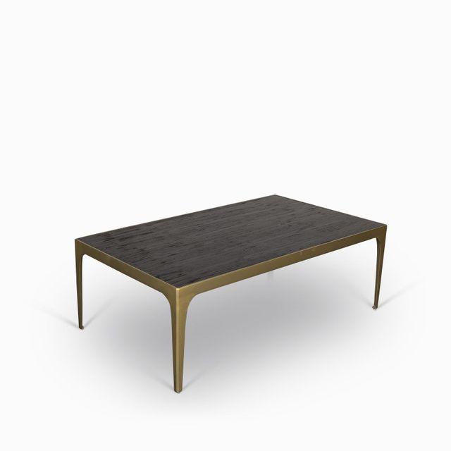 Mesa centro chocolate marco dorado
