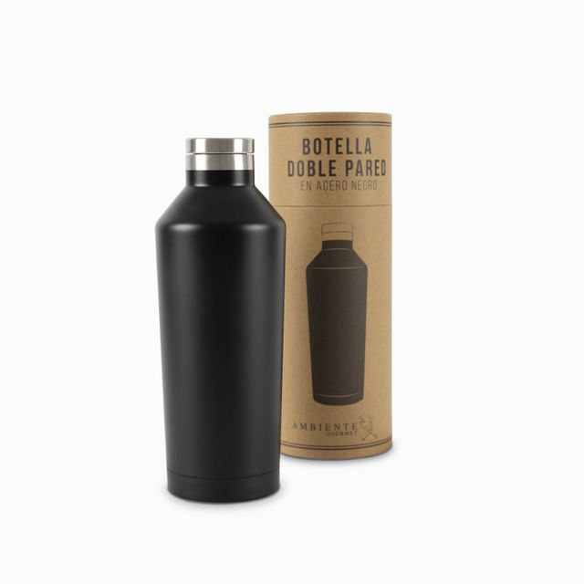 Botella doble pared en acero negro