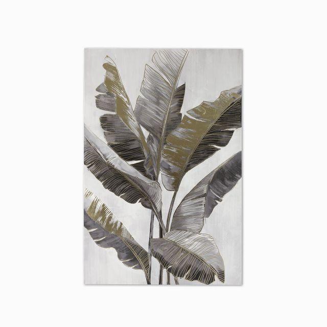 Cuadro hojas 1 gris - dorado 120x80x3.5
