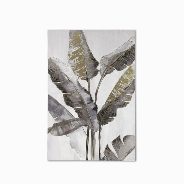 Cuadro hojas 2 gris - dorado 120x80x3.5