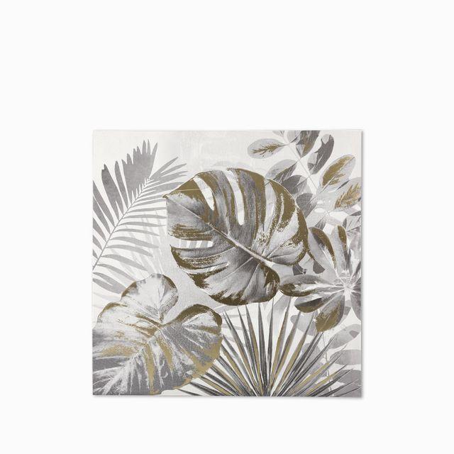Cuadro hojas 3 gris - dorado 80x80x3.5