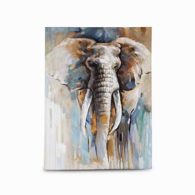 Cuadro elefante cafe azules 90x120x3.5