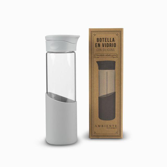 Botella en vidrio con silicona gris