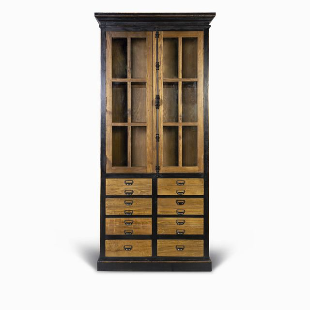 Vitrina-negra-cajones-madera-230x108x44