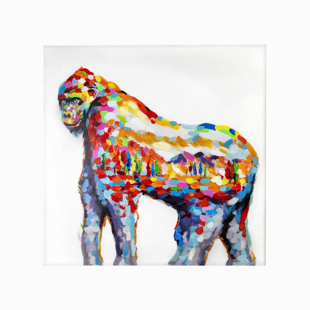 Cuadro-gorila-multicolor-100x100
