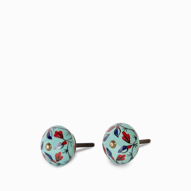 Pomo-ceramica-azul-flores-set-x-2
