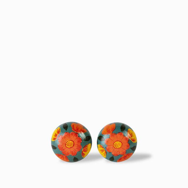 Pomo-madera-flor-naranja-set-x-2